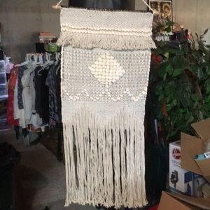 Crochet off-white boho wall hanging with fringe
